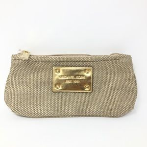 Michael Kors Gold Cream Burlap Tweed Cosmetic Bag